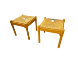 Pair of Rush Seat Wooden Stools