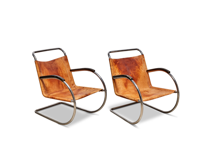 Pair of Leather and Tubular Chrome Chairs by Bas Van Pelt