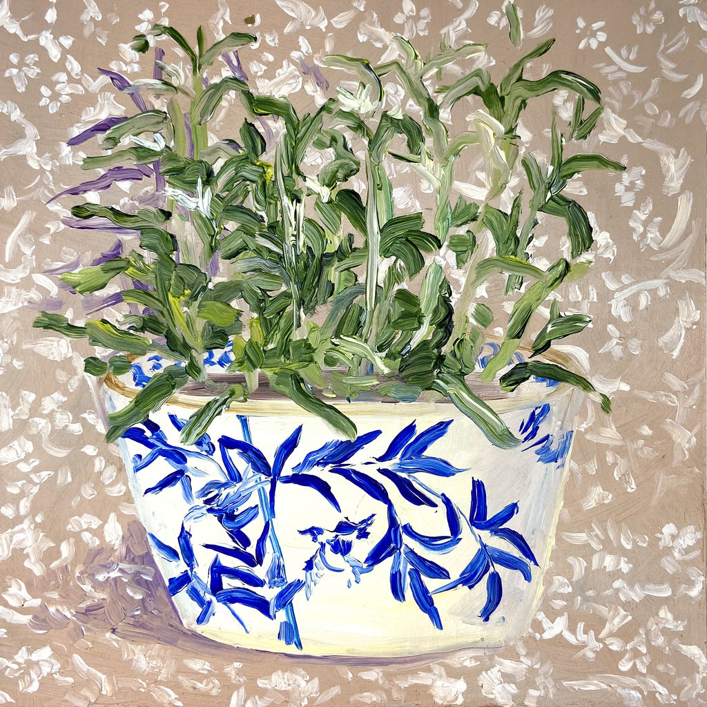 Blue and White Bowl on Tan