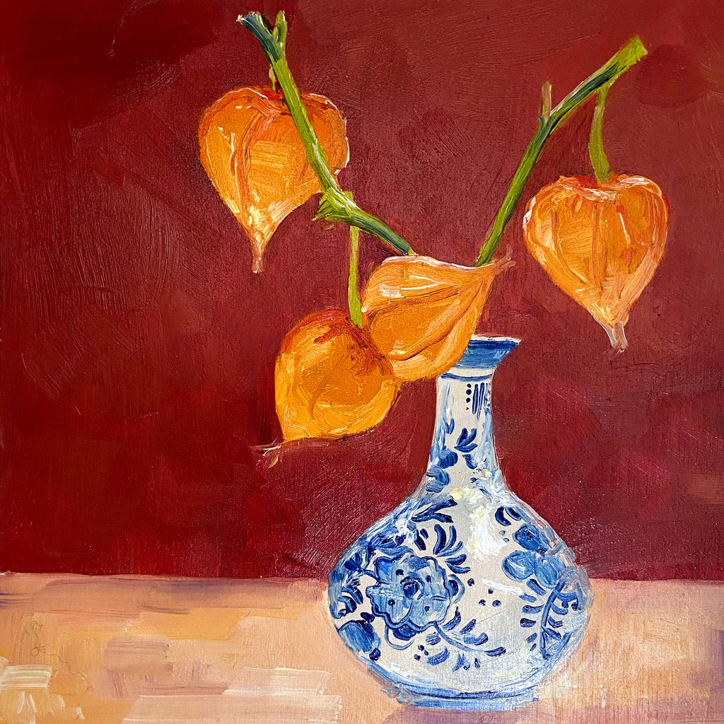 Lanterns in Blue and White Vase
