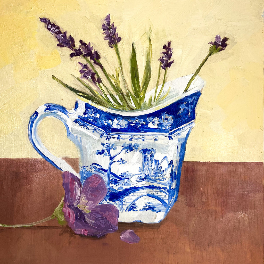 Lavender in Blue and White