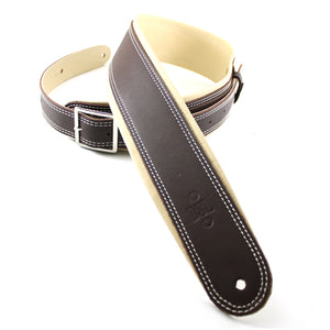 "DSL 2.5"" Rolled Edge Buckle Leather Strap Brown/Beige"