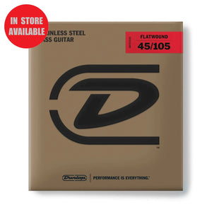 DUNLOP Stainless Steel Flatwound Bass Strings 45-105