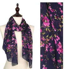 Load image into Gallery viewer, Scarf Navy/ Purple Flower