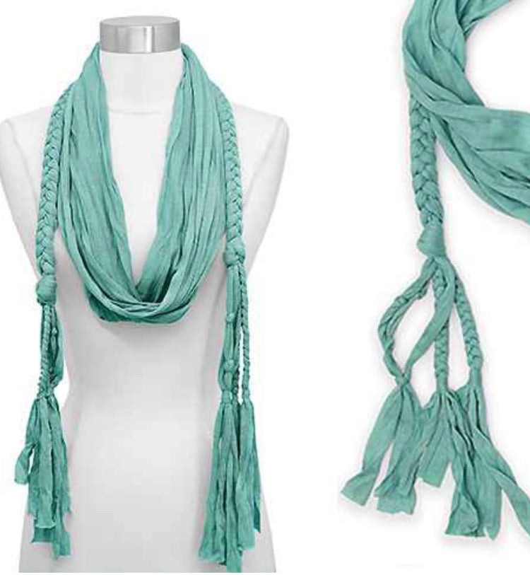 Jersey Braided Scarf Mint