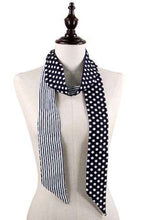 Load image into Gallery viewer, Skinny Scarf Polka Dot / Navy Stripes