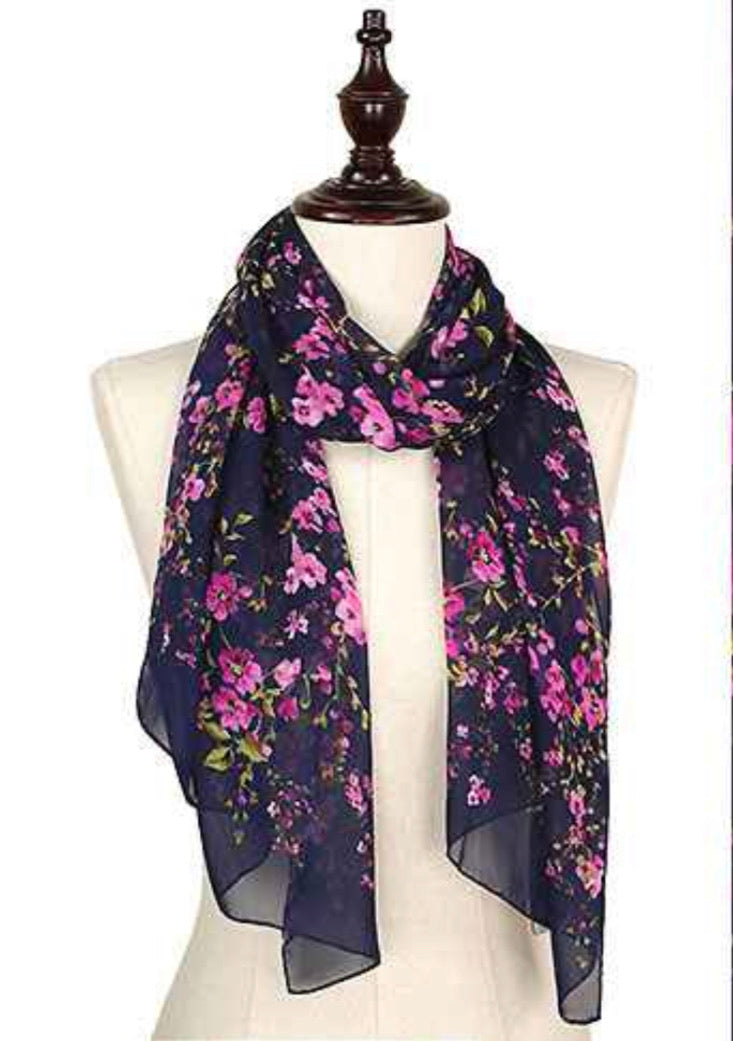 Scarf Navy/ Purple Flower