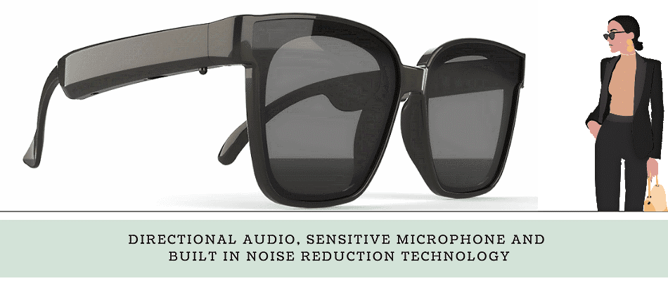 Smart sunglasses with sound, microphone and bluetooth