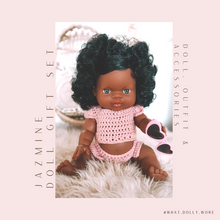 Load image into Gallery viewer, BABY DOLL GIFT SET - Paola Reina Marley or Jazmine Doll, two piece crochet doll clothes outfit with heart glasses.