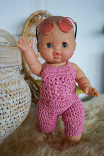 Load image into Gallery viewer, BABY DOLL GIFT SET - Paola Reina Baby Doll - Bella with handmade jumpsuit doll clothes & sunglasses. For nursery decor or girls birthday gift.