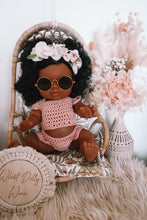 Load image into Gallery viewer, BABY DOLL GIFT SET - Paola Reina Jazmine baby doll dressed in boho crochet crop top & bloomer with rose gold framed sunglasses and flower crown.