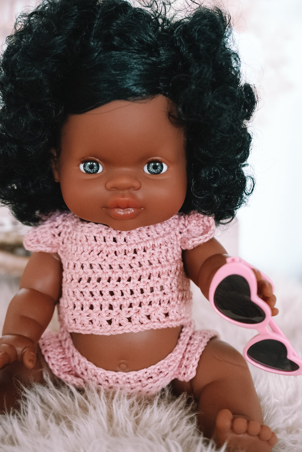 BABY DOLL GIFT SET - Paola Reina Marley or Jazmine Doll, two piece crochet doll clothes outfit with heart glasses.