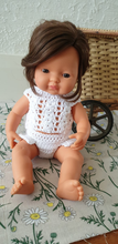 Load image into Gallery viewer, BABY DOLL GIFT SET - Lizzy. Miniland Caucasian Baby Doll with handmade two-piece crochet doll clothes outfit & sunglasses. For nursery decor or girls birthday gift.