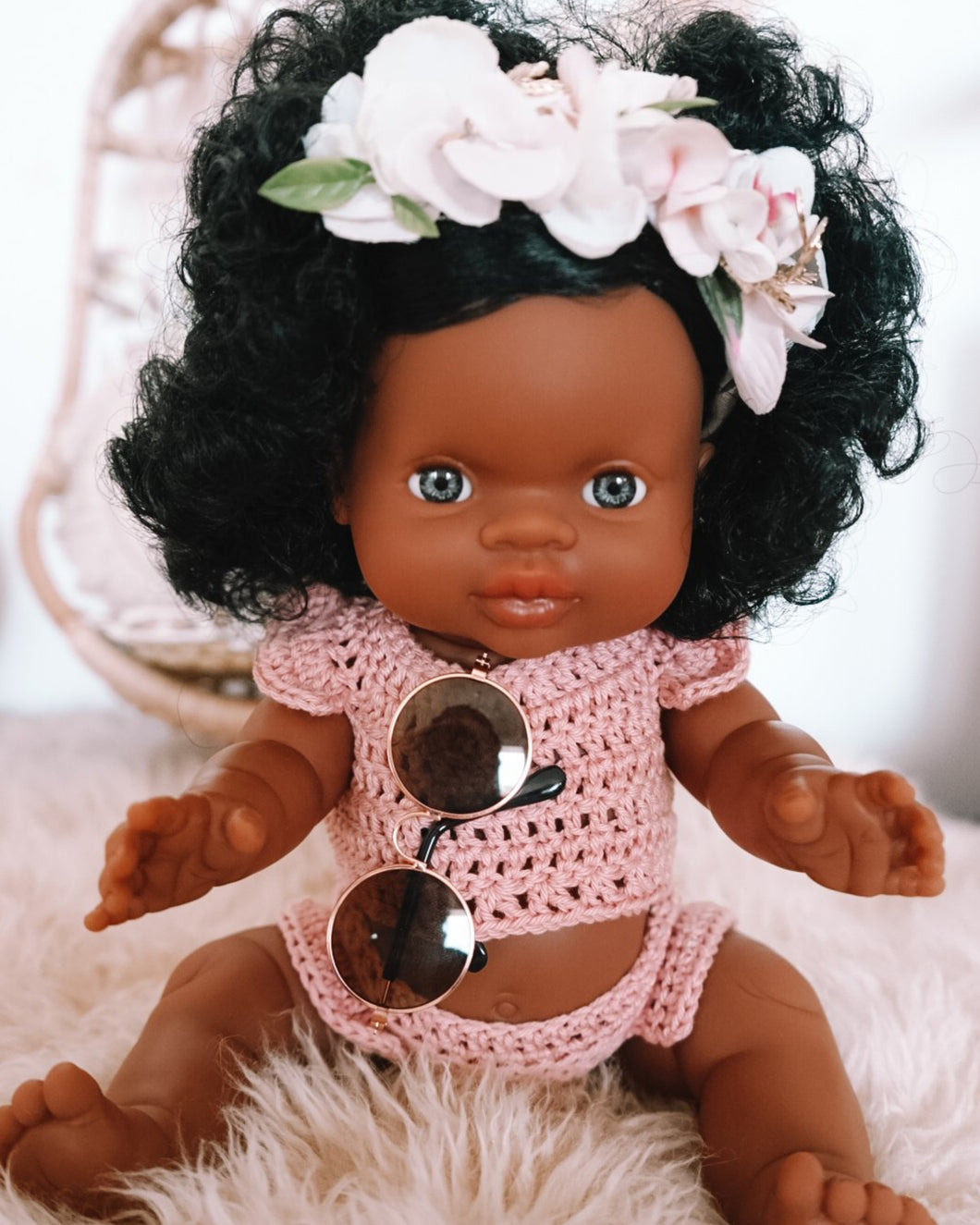 BABY DOLL GIFT SET - Paola Reina Jazmine baby doll dressed in boho crochet crop top & bloomer with rose gold framed sunglasses and flower crown.
