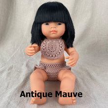 Load image into Gallery viewer, Crochet bib to fit Miniland, Minikane and Paola Reina dolls