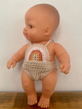 Load image into Gallery viewer, Rainbow Crochet Romper to fit both the 21cm Miniland & Paola Reina Dolls.