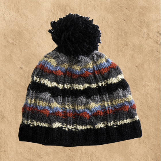 NEPALESE TEXTURED WOOL BOBBLE HAT