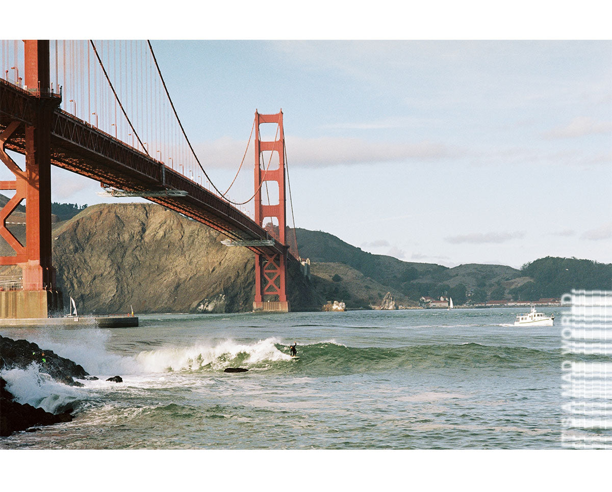 Surfing under the Golden Gate bridge