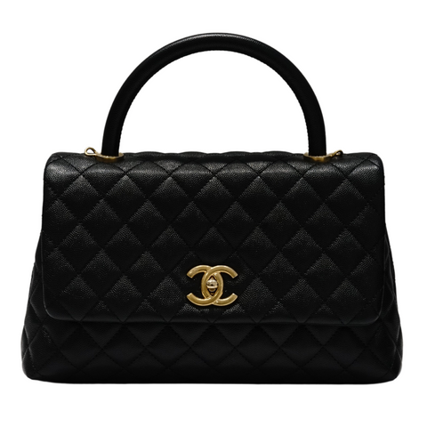 Chanel - Grained Calfskin & Gold-Tone Metal Black Flap Black with Top Handle