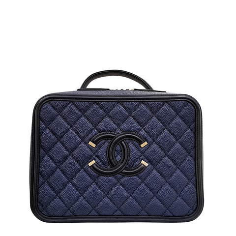 Chanel - CC Filigree Vanity Case Quilted Navy Black in Caviar with Gold-tone
