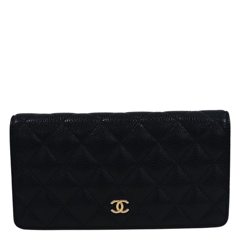 Chanel - Black Caviar Leather Quilted Long Wallet