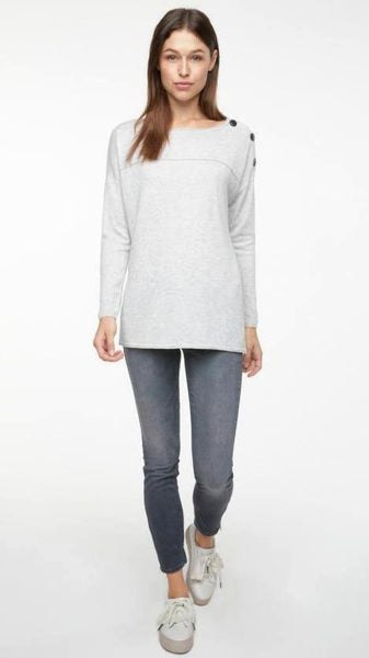 YAYA  Off Shoulder Sweater w. contrast buttons