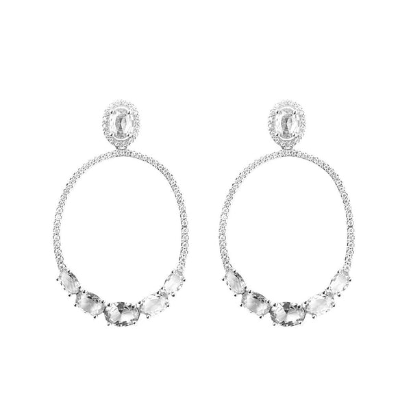 Snö of Sweden Judith Stone Pendant Earrings - silver/clear