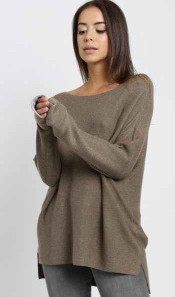Yaya Basic Kimono Sweater - brownish green mel