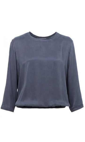 Yaya Blouson Mix Fabric Top - antracite blue