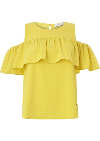 Coster Copenhagen Top w. Off-Shoulder Ruffle - Pineapple