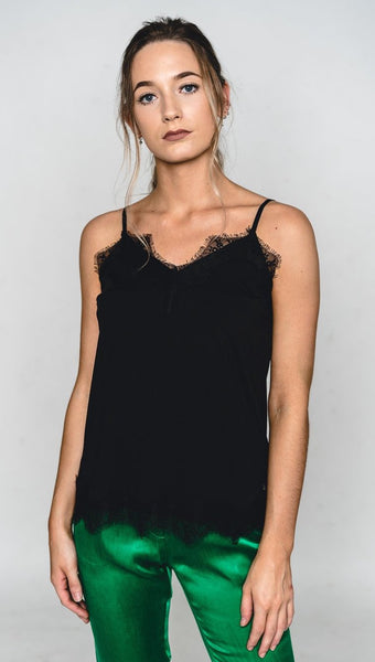 Coster Copenhagen Strap Top w. Lace - Black
