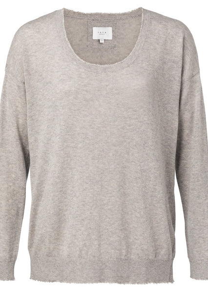 Yaya Soft Sweater w. raw edges - Light Grey Mel