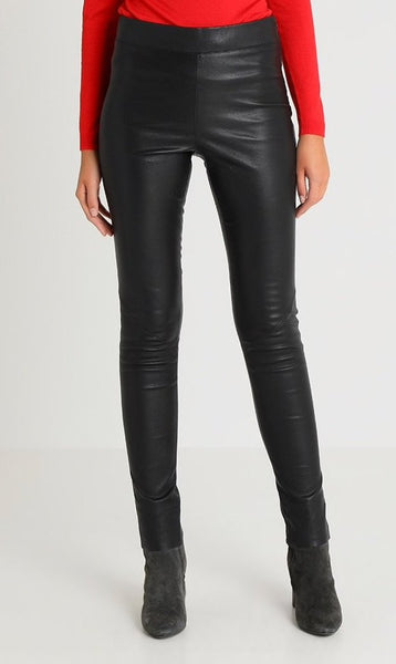 Noa Noa Leather Stretch Leggings - Black