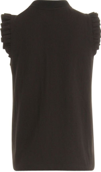 Coster Copenhagen Polo Top w. Ruffle Sleeves - Black
