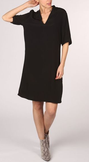 Yaya Woven Dress Collar - black