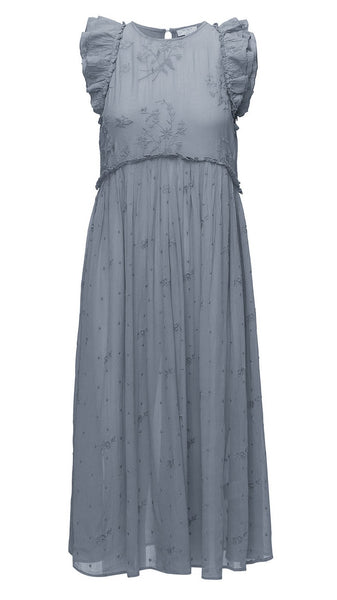 byTiMo Vintage Lace Midi Dress- dusty blue