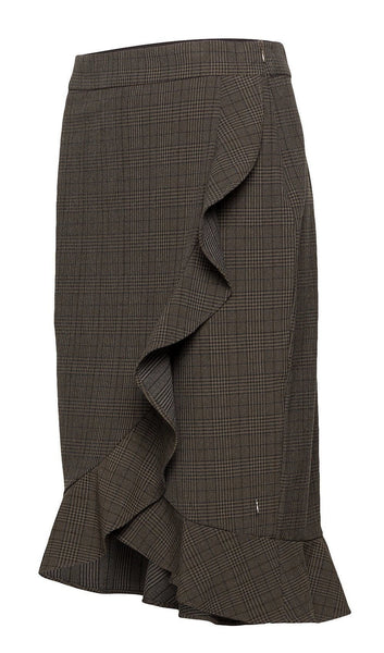 Coster Copenhagen Skirt in Checks w. Ruffle - Hunter Green