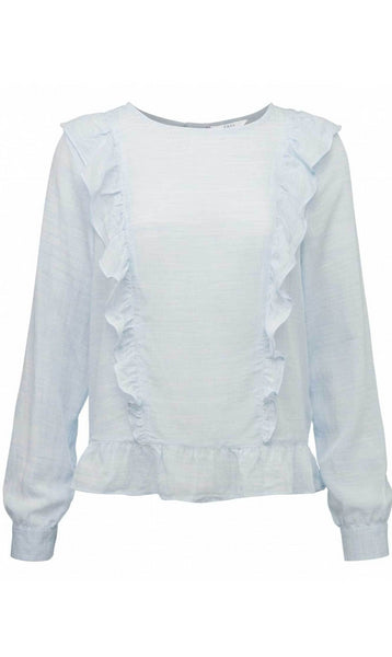 Yaya Woven Blouse Ruffles - light chambray blue