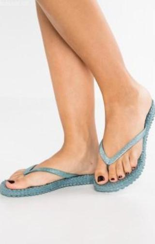 Ilse Jacobsen Cheerful 01 Flip Flop Glitter Thongs - Lichen Blue