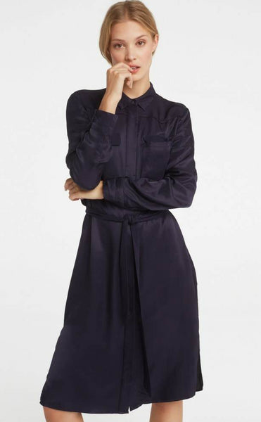 Yaya Dress Satin Contrast Pockets - dark navy blue