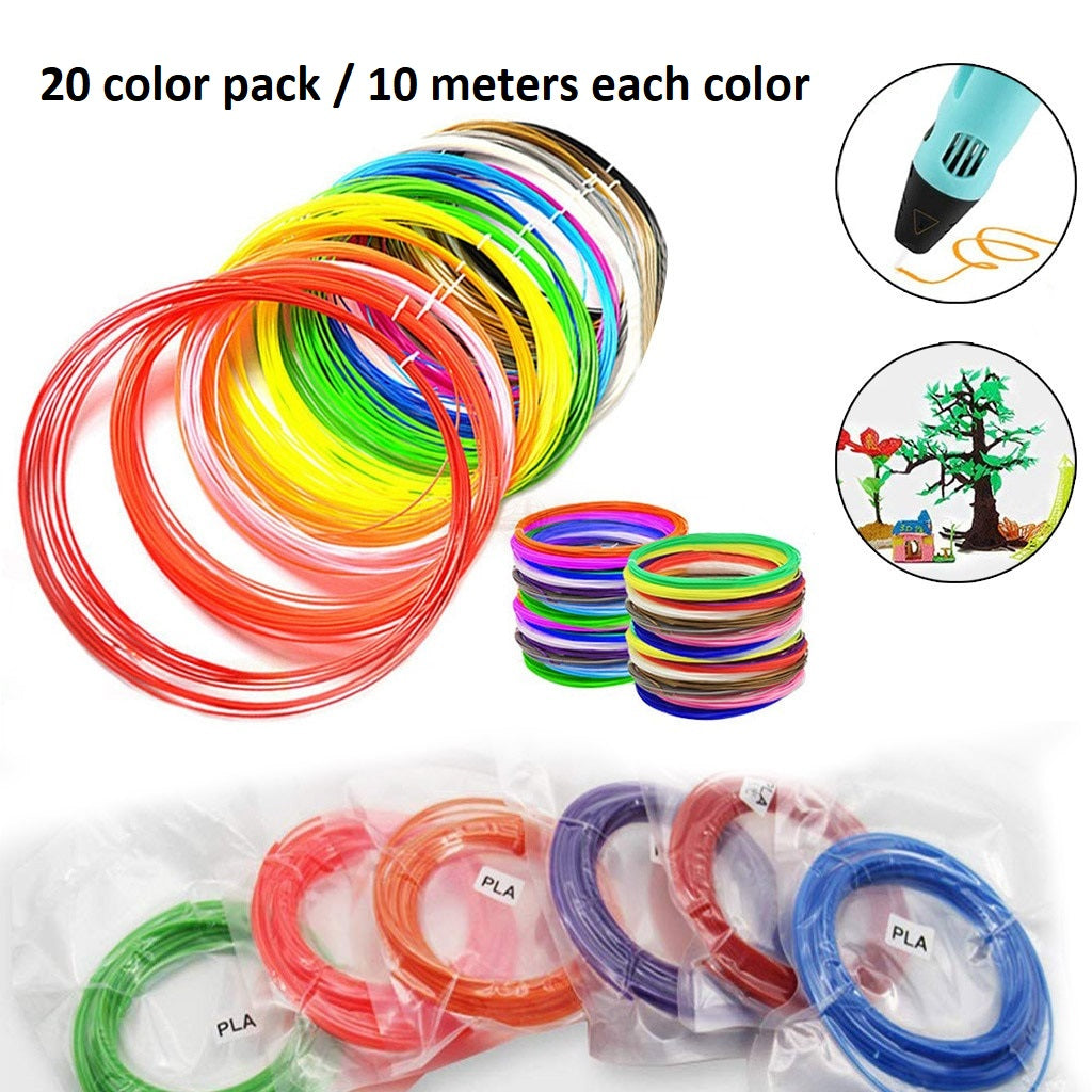 20 Color Pack / 10 meters each! ✔️ 3D Pen Filament PLA 1.75 mm
