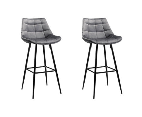 2 x Velvet Grey Bar Stools