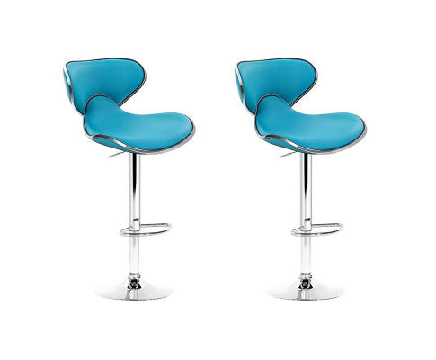 2 x Faux Leather Swivel Bar Stool - Teal Blue