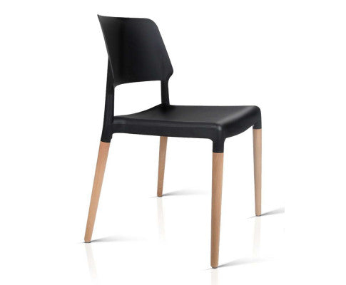 4 x Wooden Stackable Chairs - Black