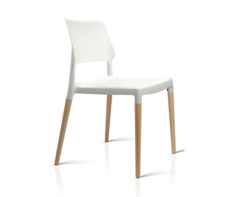 4 x Wooden Stackable Chairs - White