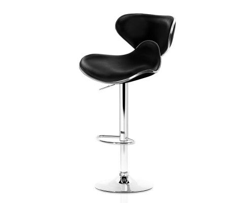 2 x Faux Leather Swivel Bar Stool - Black