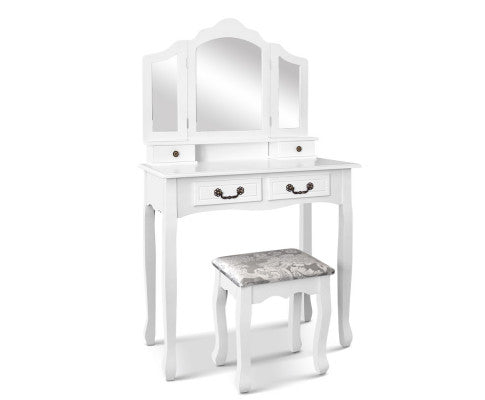 4 Drawer Dressing Table with Stool - White
