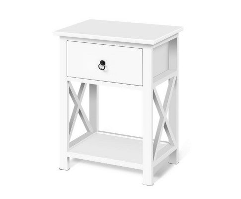 Artiss 2 x White Solid Wooden Side Tables