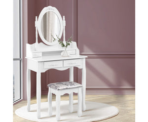 Dressing Table with Stool - White