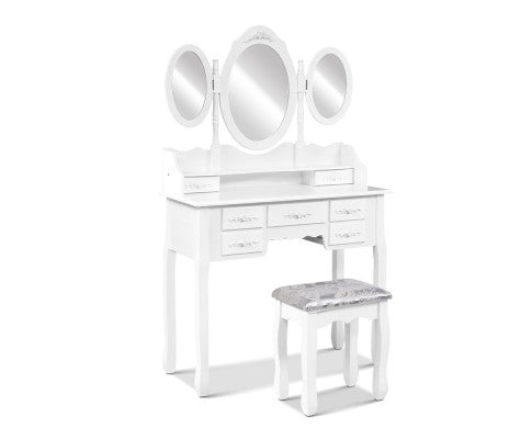 7 Drawer Dressing Table with Stool - White